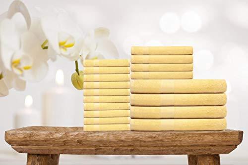 Ample Decor Premium Series 100% Ring-Spun Cotton 18-Piece Towel Set, 4 Bath Towels, 4 Hand Towels and 10 Washcloths - Yellow