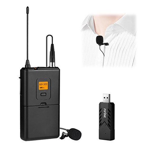 Mic Receiver (Fifine Wireless Microphone for PC & Mac, Lavalier Clip-on Unidirectional Condenser Microphone with USB Receiver for Interview, Recording & Podcast. (K031))