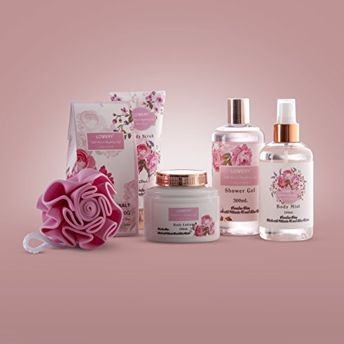 Mother's Day Gifts - Spa Gift Basket - Wild Rose & Raspberry Leaf Fragrance - 7 Piece Bath & Body Set For Women, Contains Shower Gel, Lotion, Body Scrub, Bath Salt, Body Mist, Bath Puff & Shower Caddy