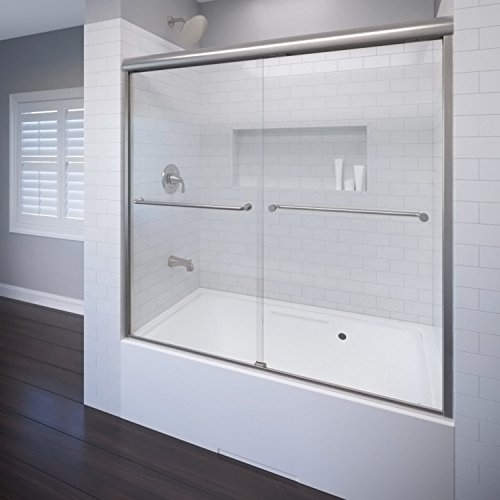 (Basco Celesta Semi-Frameless Sliding Tub Door, Fits 56-60 inch opening, Clear Glass, Brushed Nickel Finish)