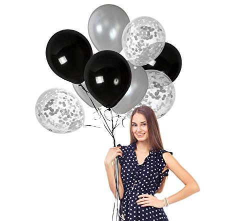 Black and Silver Thick Latex Balloons 12 Inch Confetti to Fill Glitter Silver Grey and Black Party Decorations Clear Birthday Wedding Metallic Elegant Supplies -