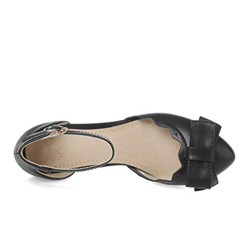 Moyen Noeud à avec Cheville Confortables Femmes Noir Douce Boucles UH Sandales Bride Deux et Talons a Carre wUYTIzq