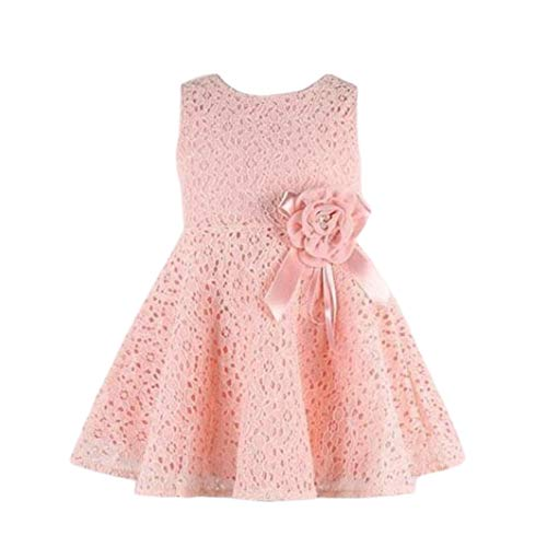 Floral Sleeveless One Piece Kids Child Princess Party Dress (2-3Y, Pink) ()