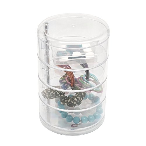 d'Moda Designs Crystal Clear Round Acrylic 4-Layer Makeup Organizer for Cosmetics, Jewelry and Hair (Acrylic Hair Band)