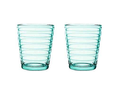 Iittala Aino Aalto Set of Two Glass Tumblers, Water Green, 7-3/4-Ounce Capacity each