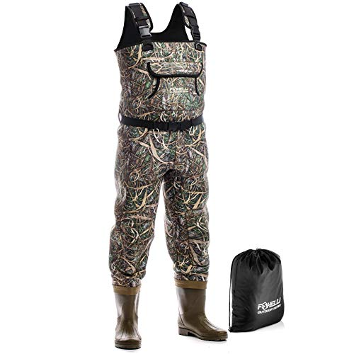 Foxelli Neoprene Fishing Waders - Camo Chest Waders for Men with Boots - Use for Duck Hunting, Fly Fishing, Emergency Flooding - 100% Waterproof, Carrying Bag Included