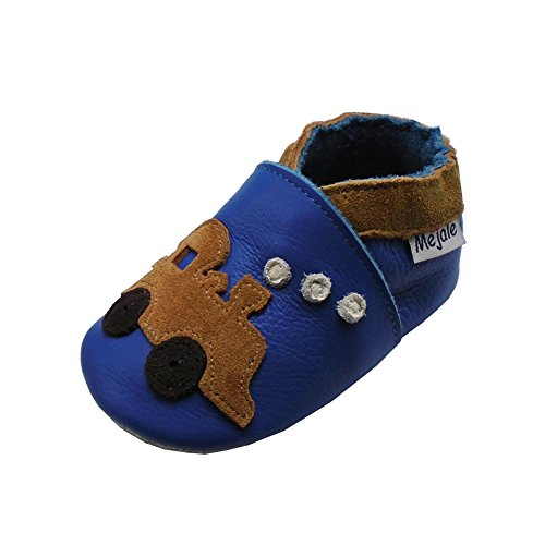 Mejale Baby Shoes Soft Leather Sole Cartoon Infant Toddler Crawling Moccasins