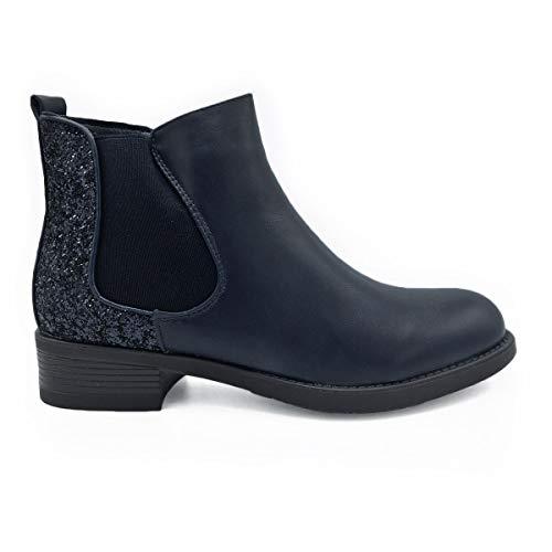 Boots Bleu Chelsea Modeuse Paillettes matières Et Bi La Cuir simili gEf7wzwqx
