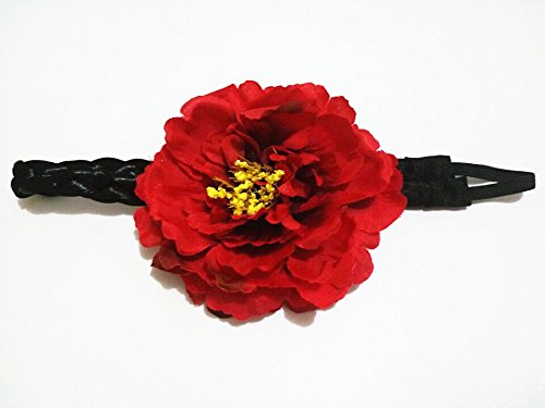 4.75inch Bohemian Elastic Big Artificial Fabric Peony Flower Hairband Floral Forehead Bands Faux Synthetic Hair Braided Plait Hippy Stretch Headbands for Hippies Women Girls Red by Pretty flower hair accessories