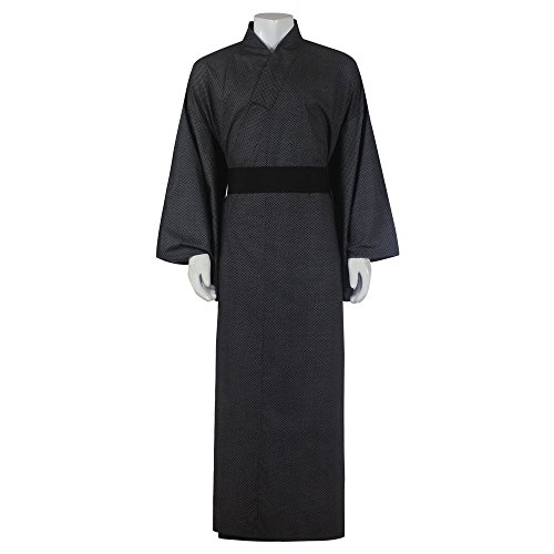 Japanischer Herren Yukata Kimono Morgenmantel Baumwolle One Size M L XL Schwarz