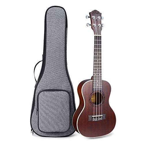 Ranch Concert Ukulele 23 inch Professional Wooden ukelele Instrument with 12 Free Online Lessons and Padded Gig Bag - Brown Coffee