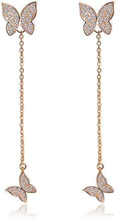 Silver or Rose Gold Tone Butterfly Tassel Drop Dangle Long Earrings For Women Wedding Bridal Jewelry