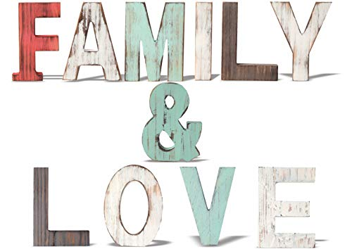 MEANT2TOBE Family & Love Signs Home Décor |Freestanding Wooden Letters Cutouts for Home Décor|Multi-Color Wooden Signs |Decorative Word Signs|Multicolor Table Decor Centerpiece (Blue)