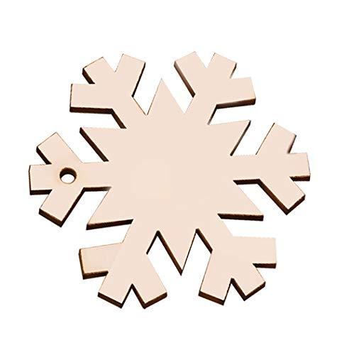 (MediaLJia Wooden Hanging Ornaments Christmas Tree Snowflake Snowman Shaped Embellishments for Christmas Decoration (Snowflake 20 PCs))