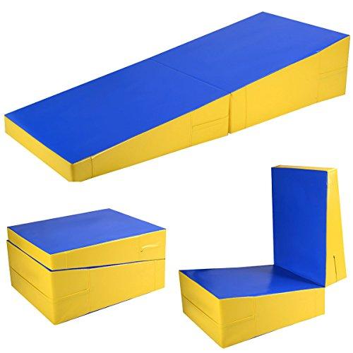 BUY JOY Folding Incline Mat Slope Cheese Gymnastics Gym Exercise Aerobics Tumbling Wedge by BUY JOY
