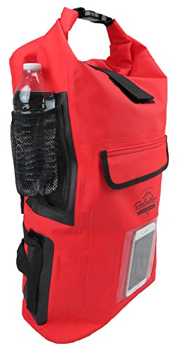 Relentless Recreation Dry Bag Backpack | 30L Waterproof - 500D PVC Tarpaulin | Splash Proof Cell Phone Pocket | Rolltop Drybag for Kayaking, Boating, Hiking, Camping, Fishing & All Water Sports | Red
