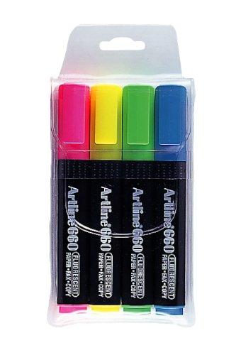 (Artline 660 1-4mm Wallet of 4 Chisel Tip Marker - Flurocent Pink/Flurocent Yellow/Flurocent Green/Light Blue)