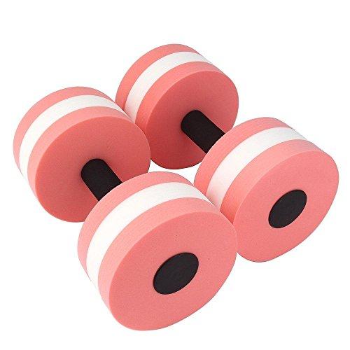 2pcs Water Aerobics Dumbbell MEDIUM Aquatic Barbell Aqua Fitness Pool Exercise (Pink)