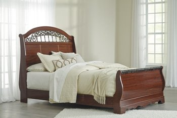 Signature Design by Ashley B105-74 Fairbrooks Estate Sleigh Footboard, Queen - Cherry Sleigh Headboard