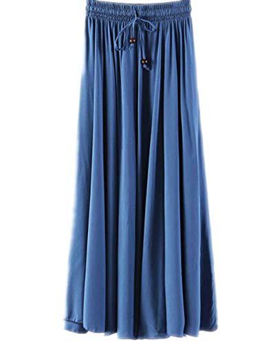 Jupes Femme Longue Haute Taille Casual Pliss Maxi Jupe de Plage Bleu Saphir