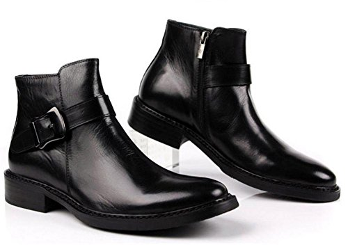 Otoño Invierno Hombres Botas Al aire libre Martín Hebilla Cremallera Casual Alto Real Cuero Negro marrón tamaño 37-45 black
