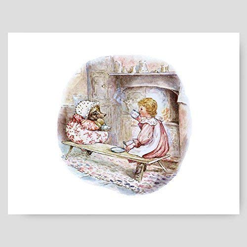 "Beatrix Potter Print (Girls Wall Art, Peter Rabbit Baby Nursery Decor) ""Tea Party"" – Unframed"
