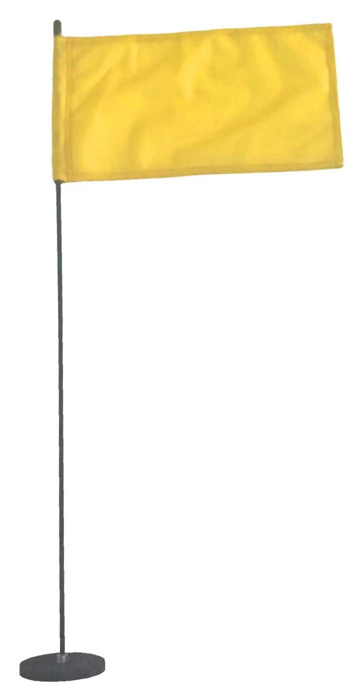 Magnetic Base Flag Holder - Hold Force 99 lbs. Flex Steel Spring Pole 16 inch (8 x 13) Yellow Flag