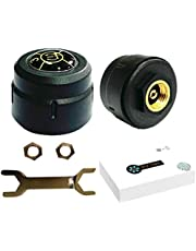 FAVOMOTO TPMS Wireless Tire Pressure Monitoring System with 2 External Cap Sensors 2 Screws Wrench and Host for Motorcycle Real-time Display Tires Pressure Temperautre