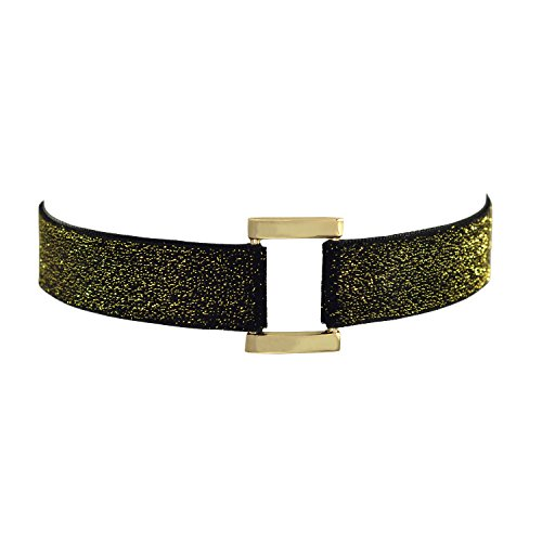 Paialco Glittering Black Velvet Belt Gothic Choker Necklace 12-15 Inches, Yellow Rectangle Shape ()