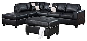 Lombardy Sectional Sofa Set in Black Bonded Leather Match With Free ottoman