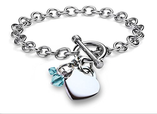 Toggle Engraved (CoolRings Charm Bracelet Simulated Birthstone Crystal Charm Heart Toggle Stainless Steel 7.5