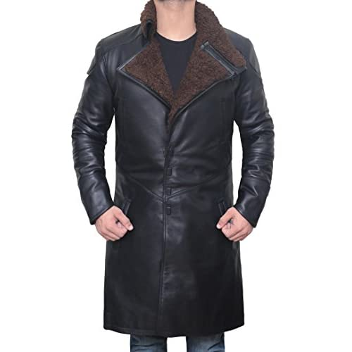 Decrum Blade Runner Jacket Coat Black - Mens Trench Leather Shearling Coat for cheap