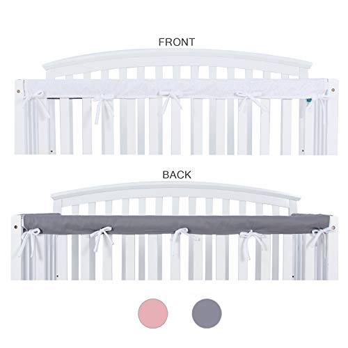 Crib Rail Cover Protector Safe Teething Guard Wrap for Long Front Crib Rails, Safe and Secure Crib Cover.