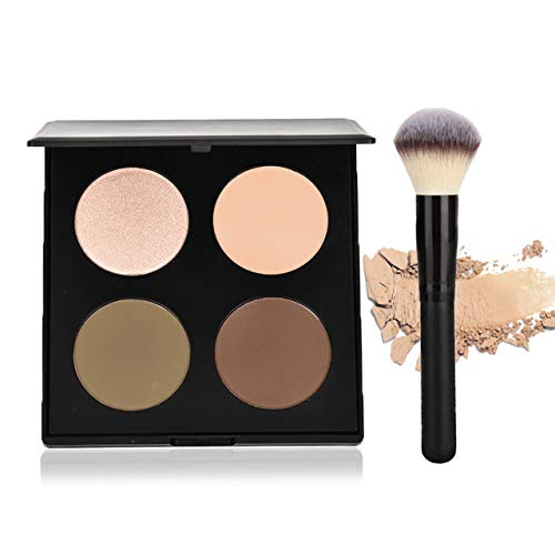 (CCbeauty Illuminator Face Highlighter Makeup Palette with Powder Brush Shimmer Powder Contour Palette Bronzers & Eyeshadow Kit, Dazzling Pearl)