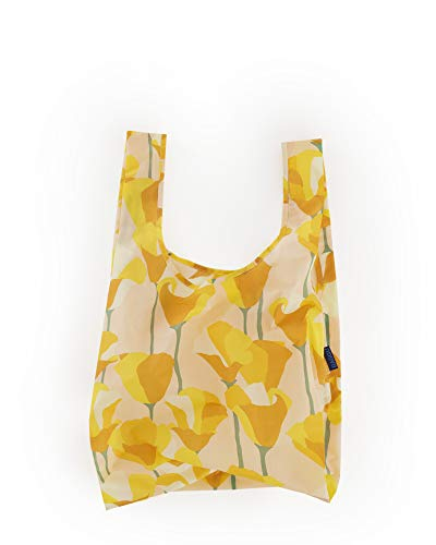Poppy Golden - BAGGU Standard Reusable Shopping Bag, Ripstop Nylon Grocery Tote or Lunch Bag, Recycled Golden Poppy