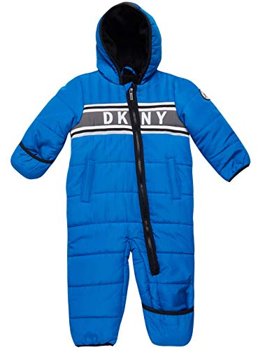 DKNY Baby Boys' Snowsuit Hooded Fully Fleece Lined Onesie Pram with Convertible Mittens