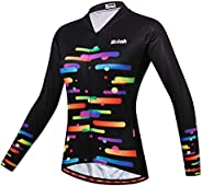 Uriah Women's Cycling Jersey Thermal Fleece Long Sleeve Reflective with Rear Zippered