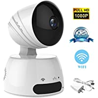 Home Wireless internet Security ip Camera System 1080P HD with Pan Tilt Motion Detection Two Way Audio and Night Vision (white)
