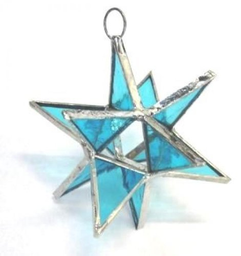 Lot of 5 Moravian Stars Iridescent Stained Glass Christmas Ornament Sun Catcher Blue ()