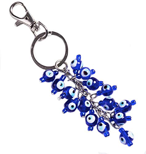Lucky Evil Eye Cluster Keychain Ring, Handbag Charm for Good Luck and Blessing, Great -