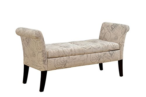 Furniture of America Gracelle Upholstered Accent Bench with Storage, Ivory Script Fabric