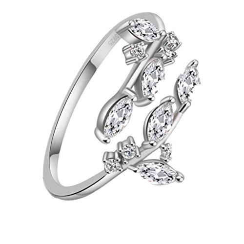 KOREA-JIAEN Branch Ring S925 Sterling Silver Plated Base 5A Level Cubic Zirconia Opening Ring (White gold) - Branch Base
