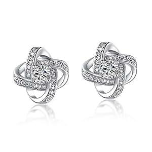 """Forever Love""Womens Stud Earrings Cubic Zirconia 18k Gold Plated CZ Earring Studs Wedding Jewellery"