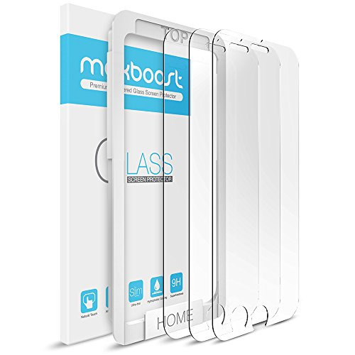 iPhone 6s Screen Protector, Maxboost (3 Pack) Apple iPhone 6s 6 Tempered Glass Screen Protector [3D Touch Compatible] 0.2mm Screen Protection Fit Most Case 99% Touch Accurate - Clear