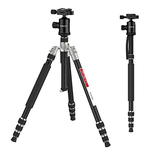 Carbon Fiber Camera Tripod, Beschoi 66'' Compact Travel Tripod Portable Camera Tripod Monopod with Ball Head and Carry Bag for Digital Camera / Camcorder / DSLR / SLR / Video Cameras by Beschoi