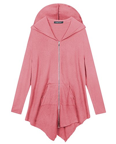 Urban CoCo Women's Plus Size Hooded Sweatshirt Jacket Cape Style (XL, Pink) from Urban CoCo