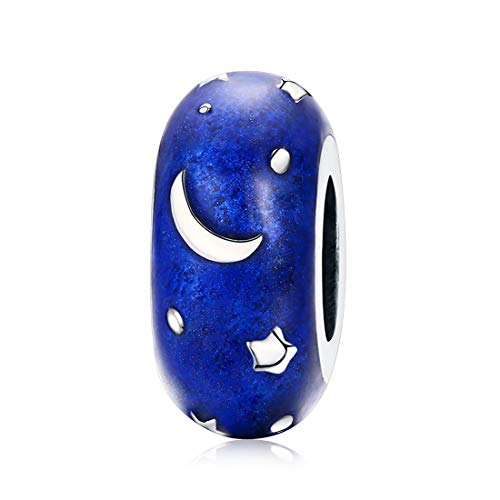 Blue Moon Sterling Silver Beads - DALARAN Clip Stopper Charms Sterling Silver Rondelle Blue Moon Star Spacer Bead for Bracelets