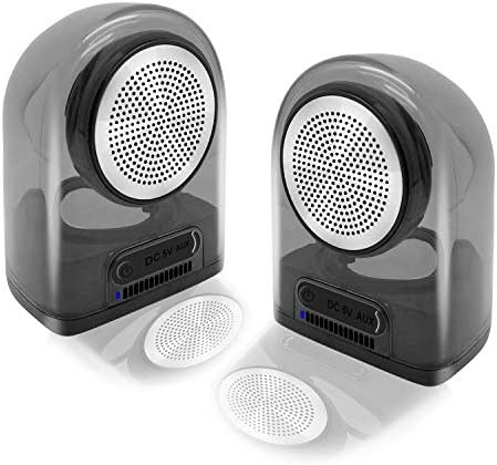 Transportable Bluetooth Speaker, 12W Highly effective 2.0 True Wi-fi Stereo System, 100 Ft Wi-fi Vary, Mic for Arms-Free, Aux in, IPX4 Waterproof, Shockproof Silicon Carrying Case, Translucent Gray-2 Pack
