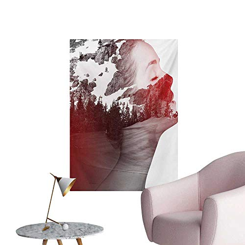 Anzhutwelve Modern Photographic Wallpaper Double Exposure Woman Portrait Combined with Rocky Mountain Pine Trees ImageDimgrey Ruby White W32 xL48 Poster Paper for $<!--$39.90-->