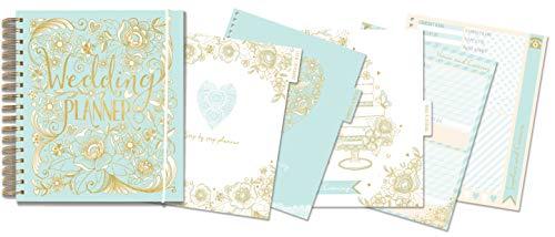 "Rachel Ellen Designs Hard Cover 9"" Wedding Planner & Organizer, Checklists, Gold Foil Details, Journal Notebook"